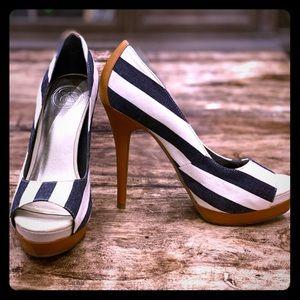 Jessica Simpson Navy/White Striped Heels,  Sz 7